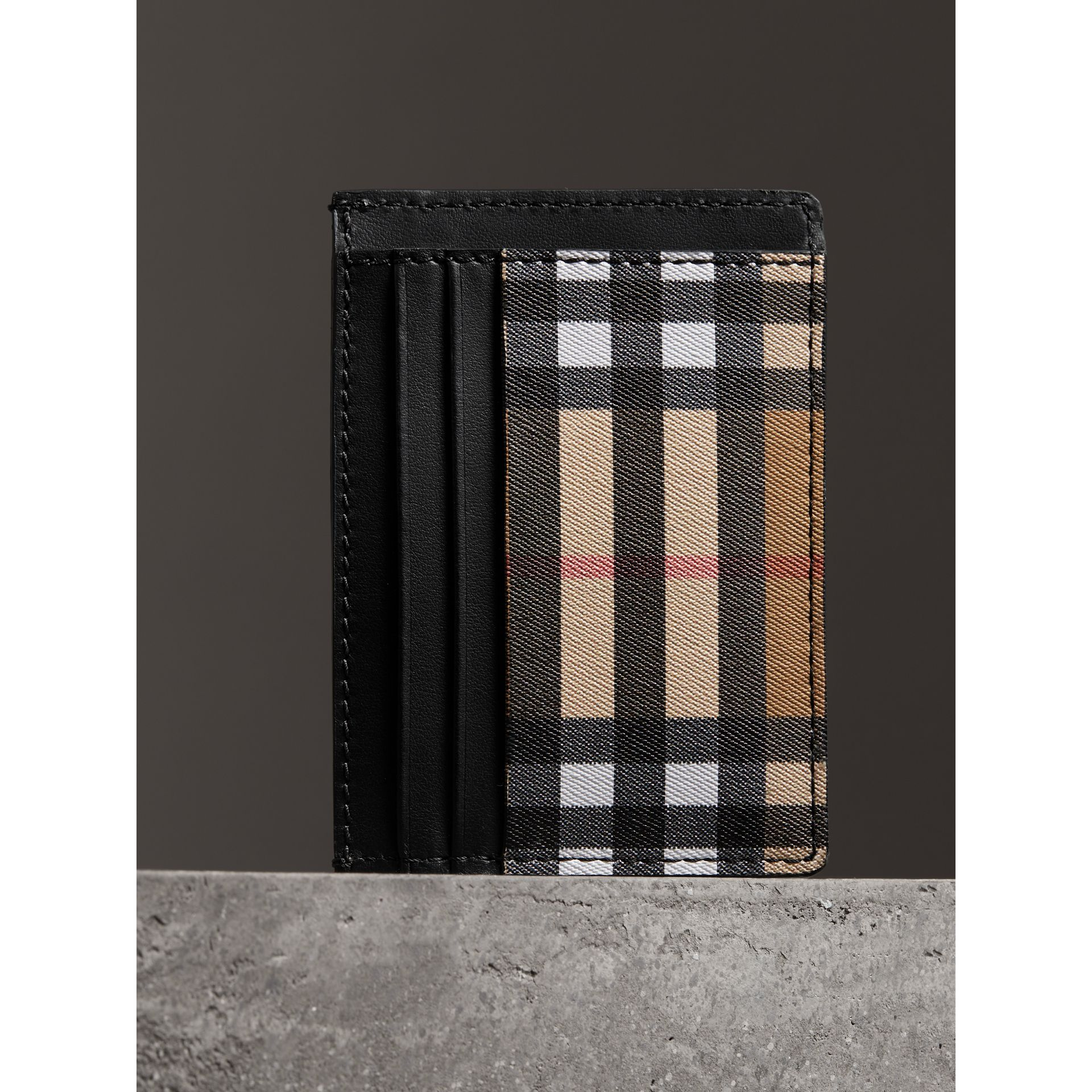 Vintage Check Leather Card Case in Black | Burberry - gallery image 2