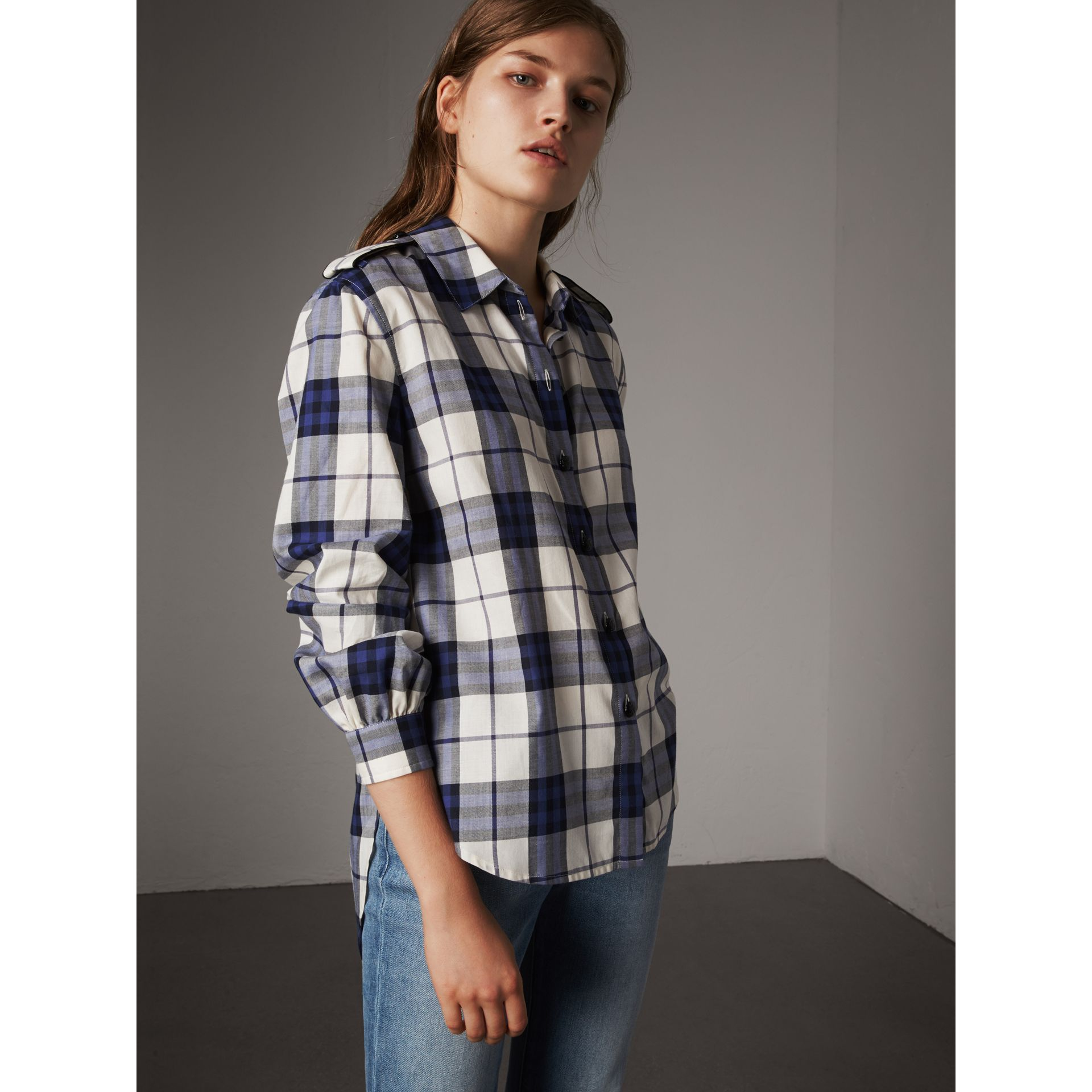 Check Cotton Flannel Military Shirt in Bright Navy - Women | Burberry Canada - gallery image 1