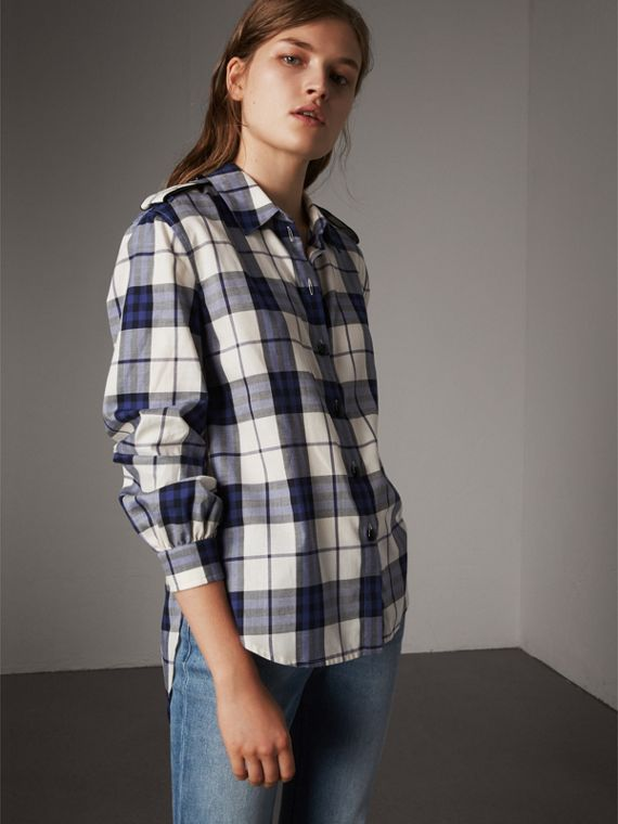 Check Cotton Flannel Military Shirt in Bright Navy