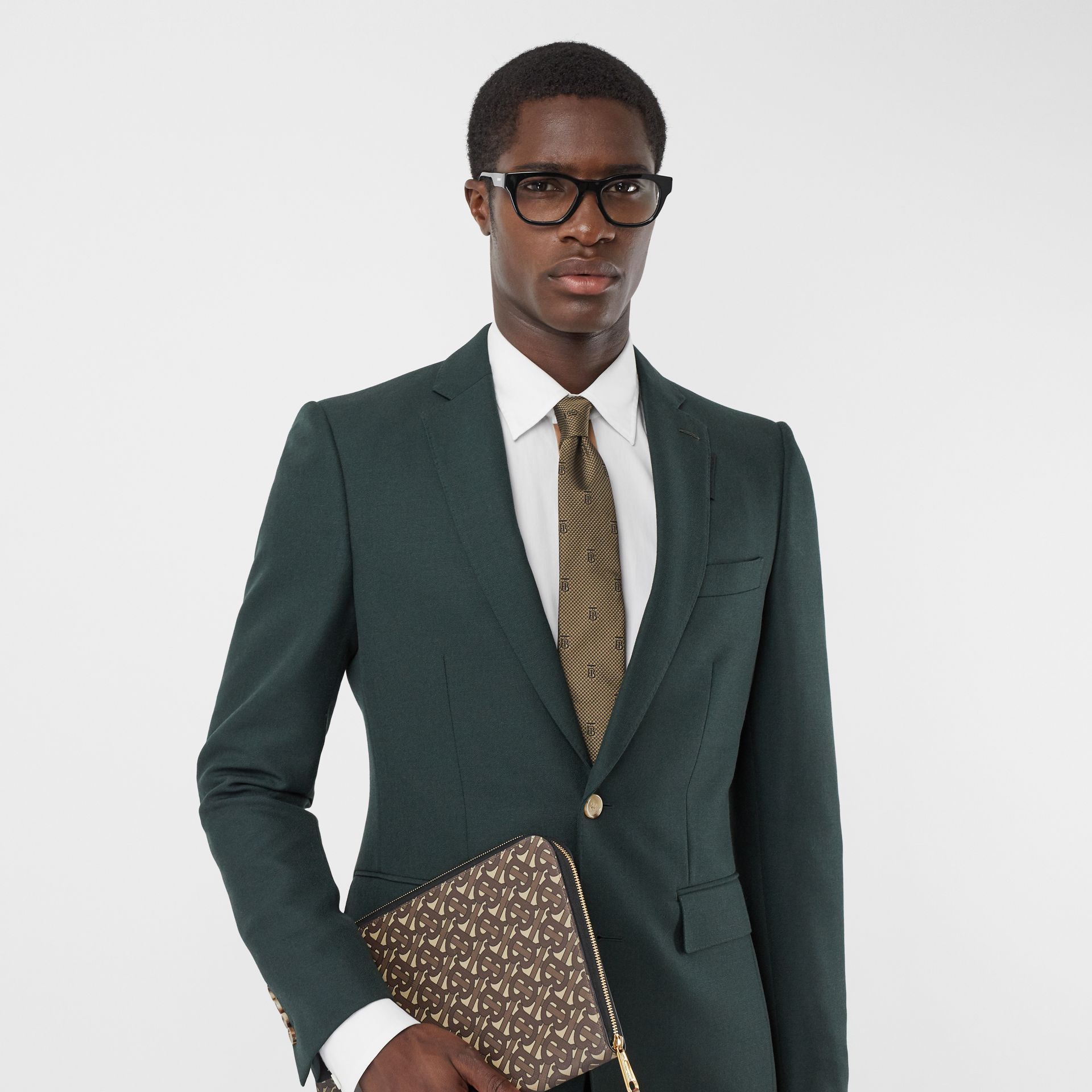 Classic Cut Puppytooth Check Silk Tie in Dark Sand - Men | Burberry United Kingdom - gallery image 2