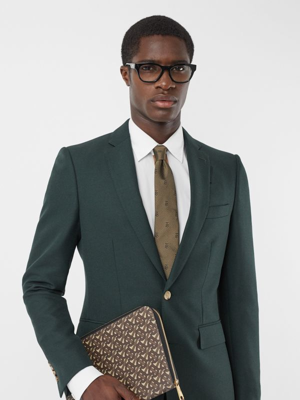 Classic Cut Puppytooth Check Silk Tie in Dark Sand - Men | Burberry United Kingdom - cell image 2