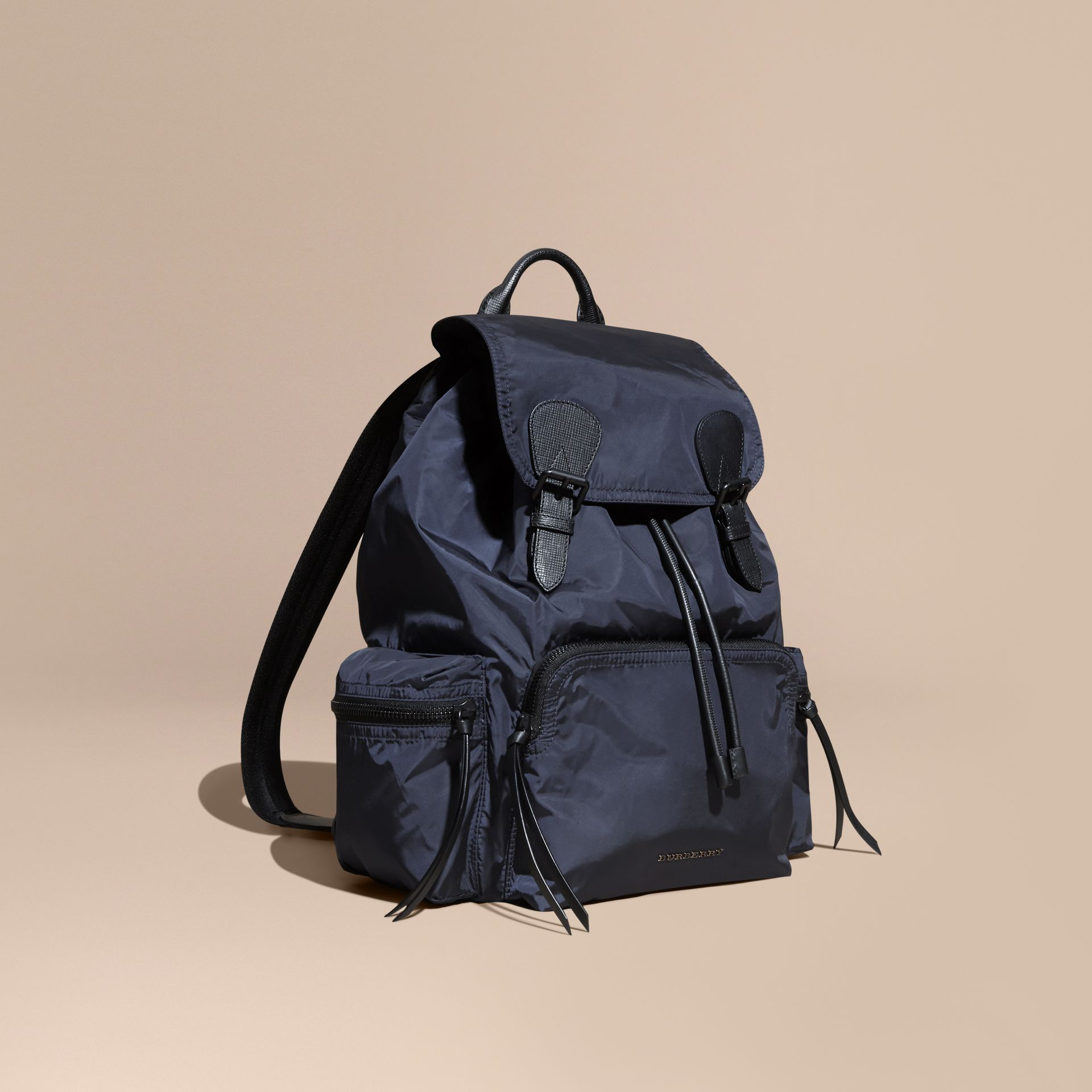 Ink blue The Large Rucksack in Technical Nylon and Leather Ink Blue - gallery image 1