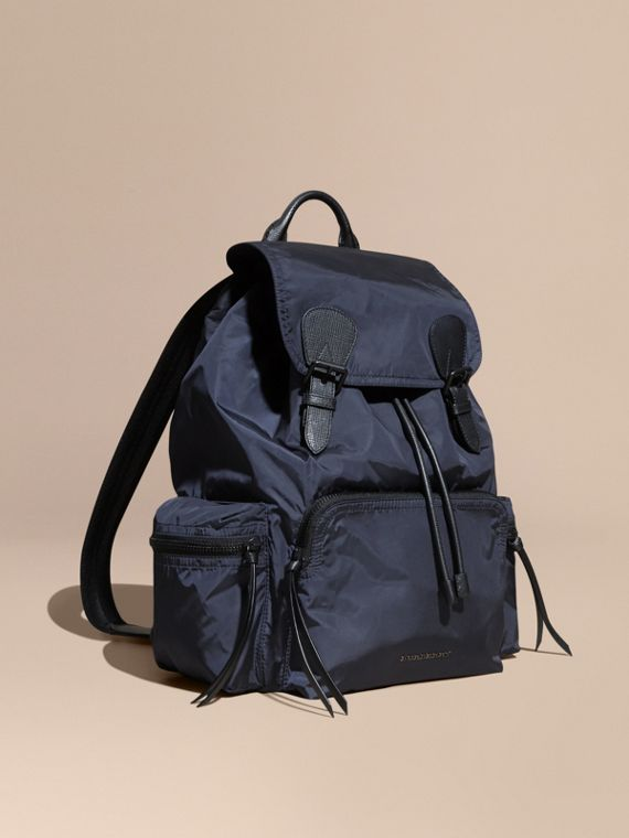 The Large Rucksack in Technical Nylon and Leather in Ink Blue | Burberry