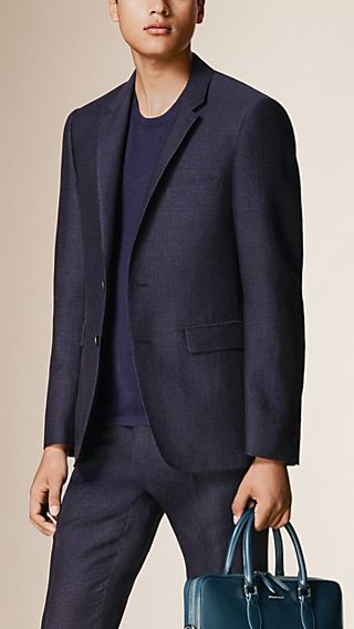 Slim Fit Flecked Cotton Linen Wool Tailored Jacket
