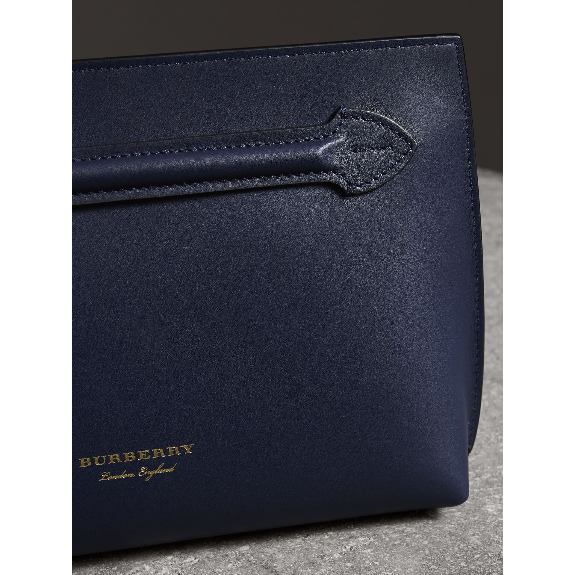 Leather Wristlet Clutch in Mid Indigo - Women | Burberry United States - gallery image 4