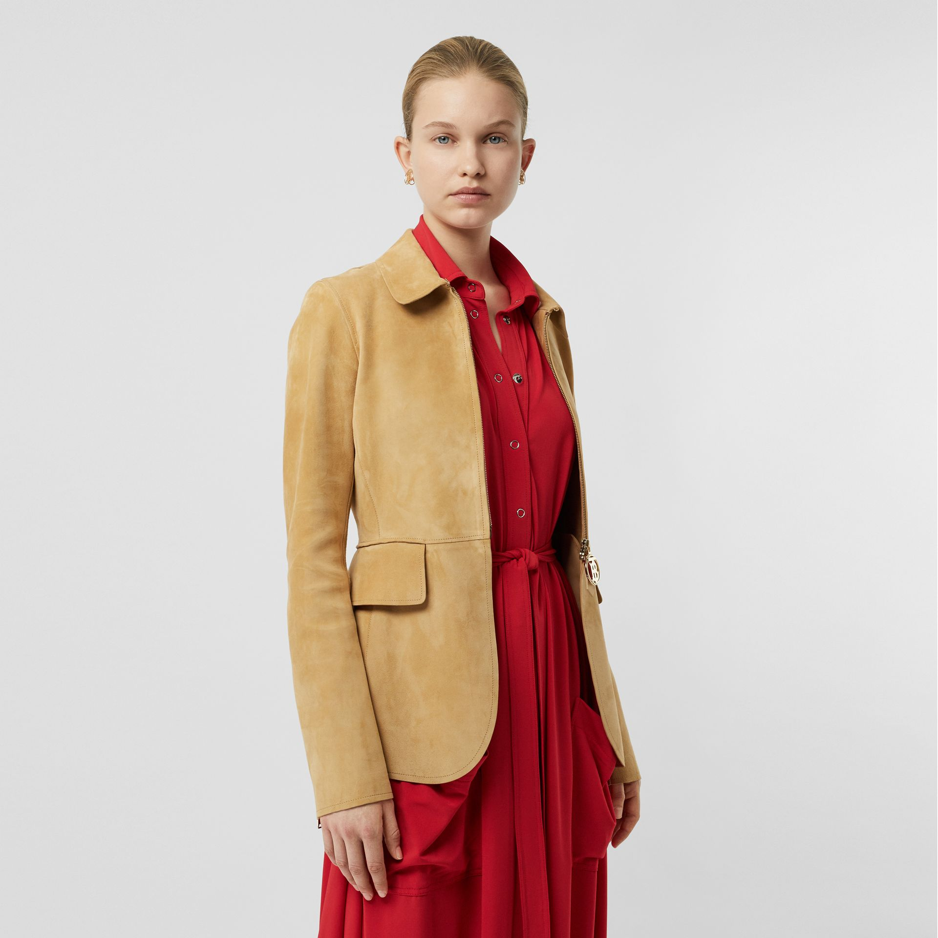 Monogram Motif Suede Riding Jacket in Sand - Women | Burberry - gallery image 4