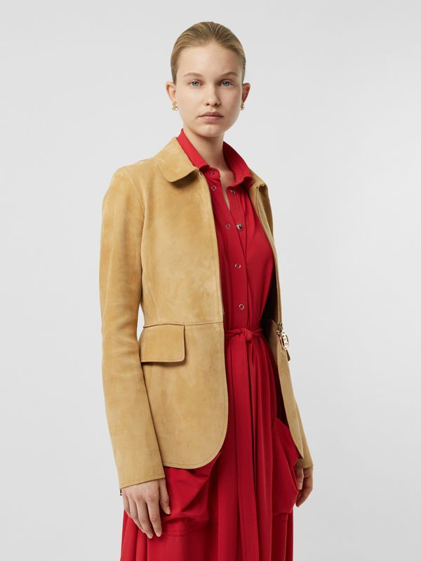 Monogram Motif Suede Riding Jacket in Sand - Women | Burberry United Kingdom - cell image 3