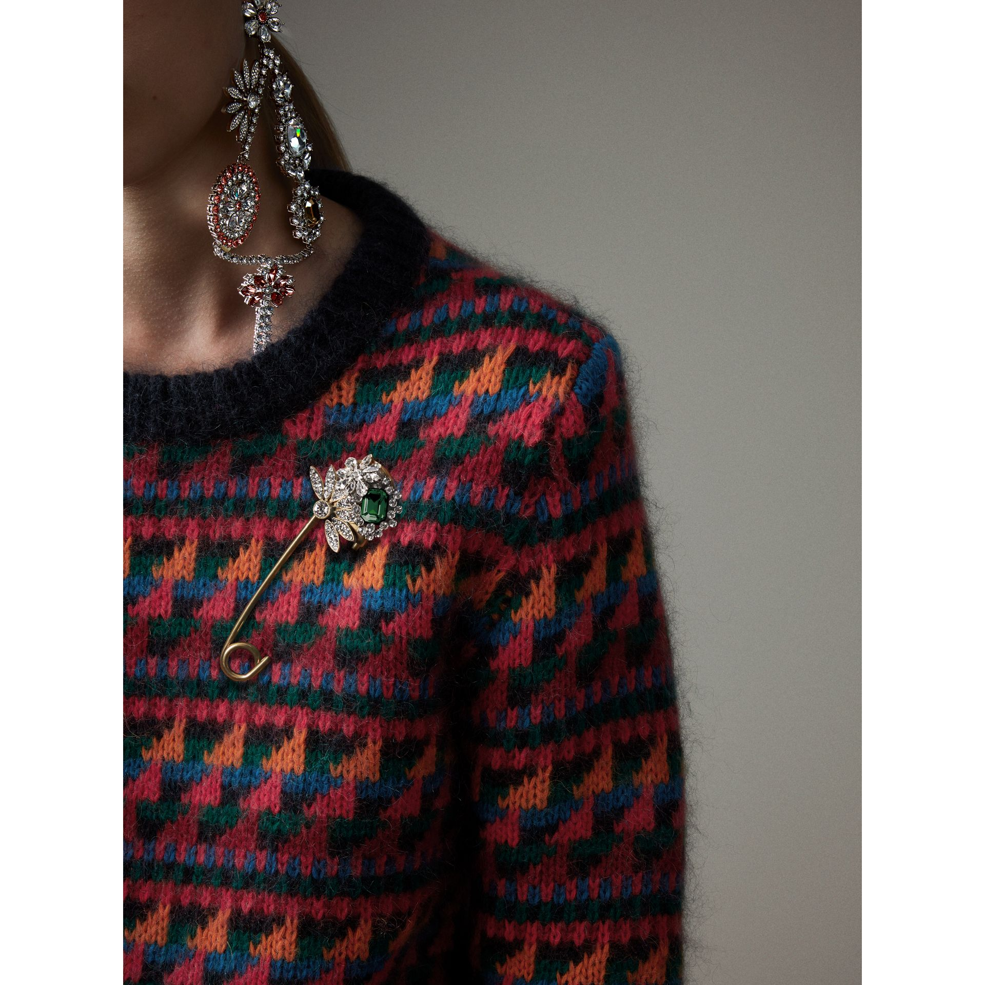 Crystal and Brass Oversized Pin in Peridot Green | Burberry Singapore - gallery image 3