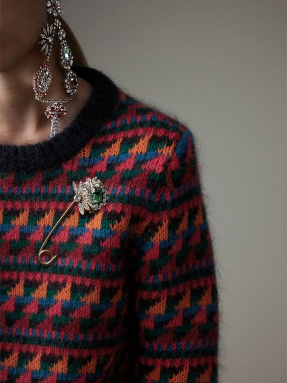 Crystal and Brass Oversized Pin in Peridot Green | Burberry Singapore - cell image 2