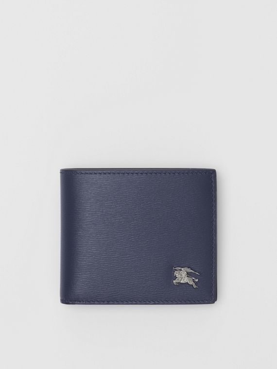 London Leather Bifold Wallet with ID Card Case in Navy