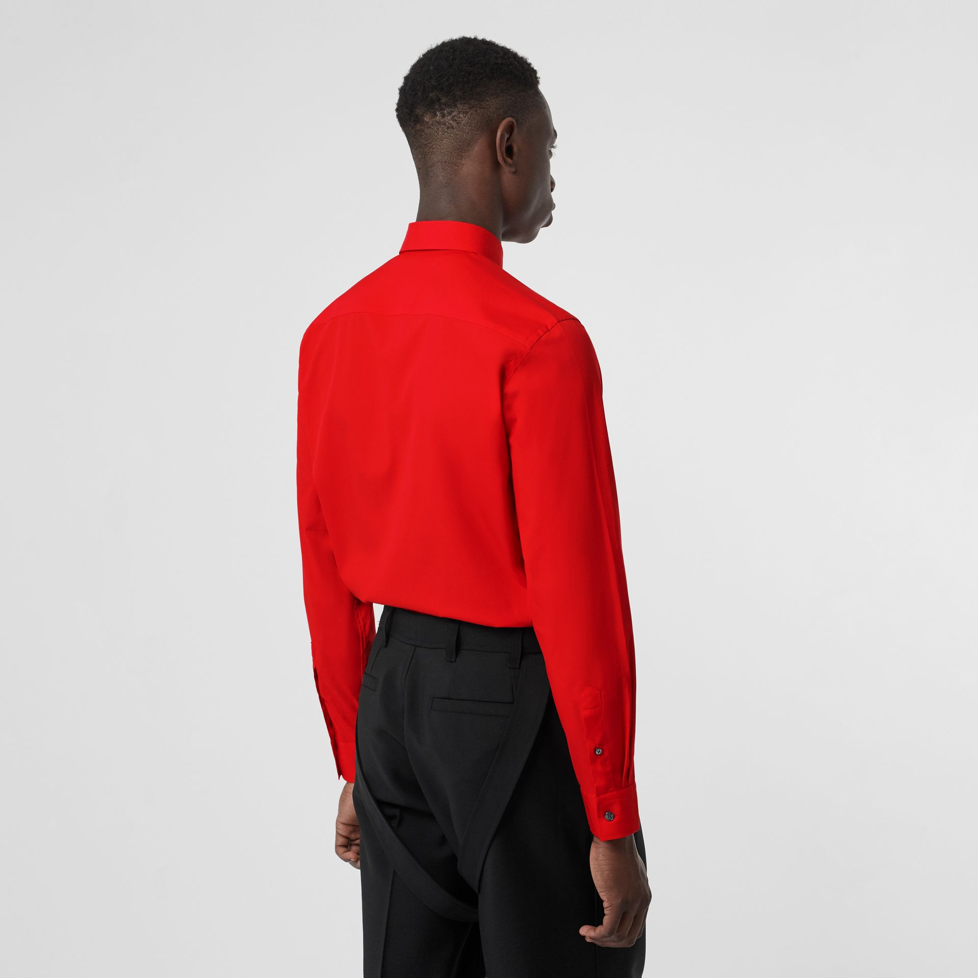 Monogram Motif Stretch Cotton Poplin Shirt in Bright Red - Men | Burberry - gallery image 2