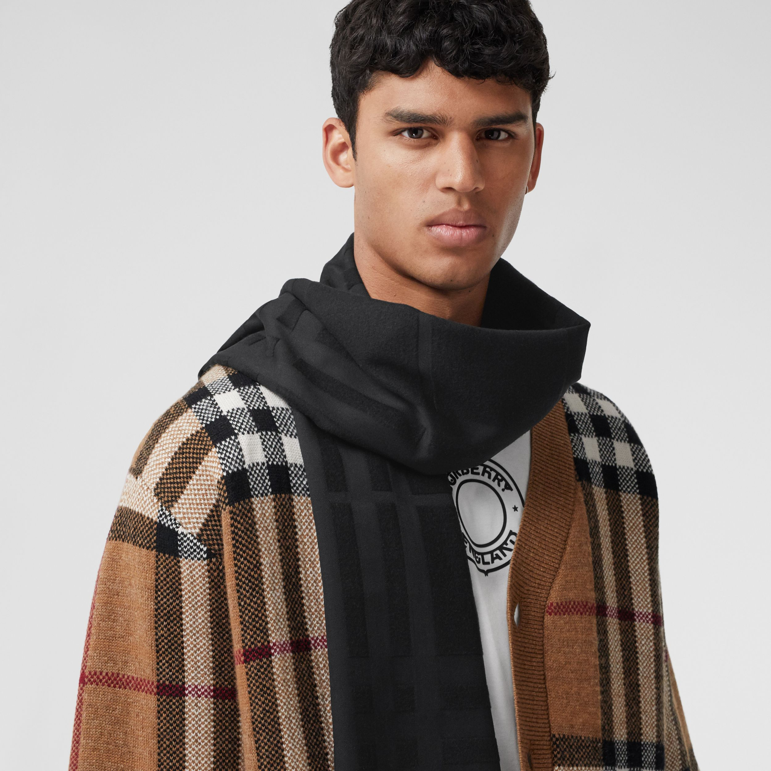 Check Silk Jacquard Scarf in Black | Burberry - 4