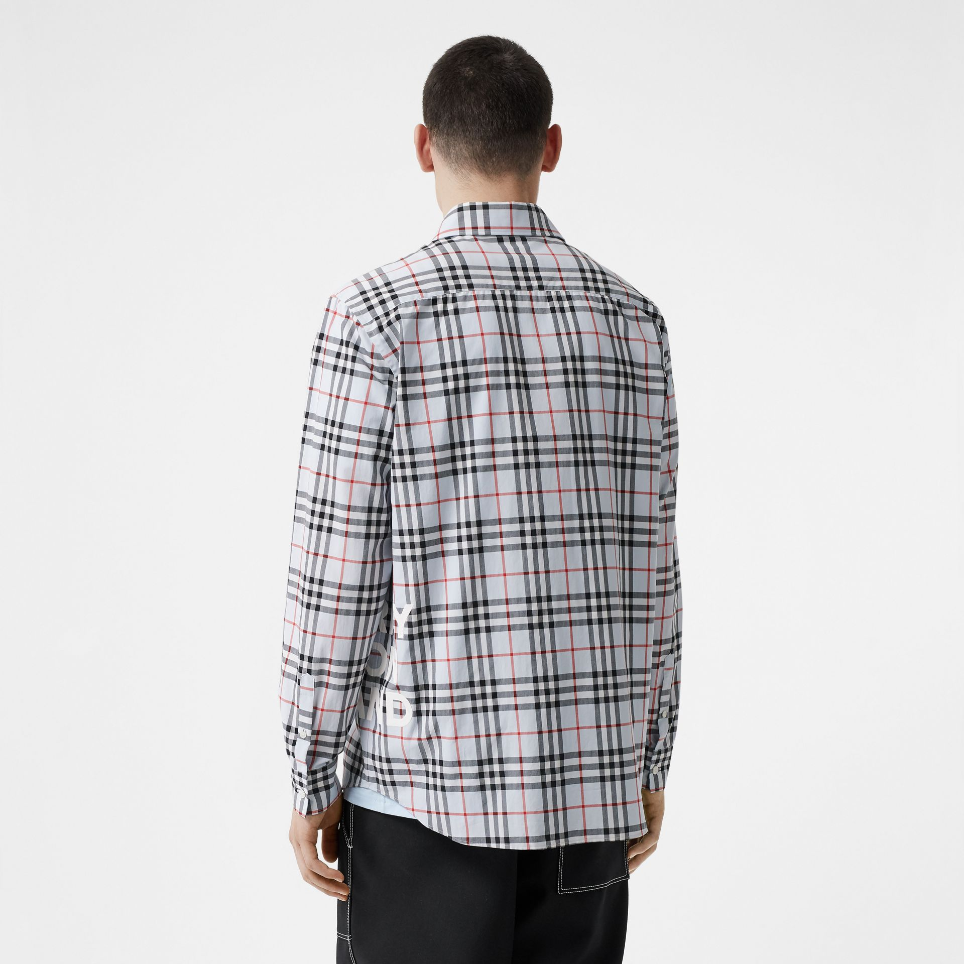Logo Print Check Cotton Oversized Shirt in Pale Blue - Men | Burberry - gallery image 2