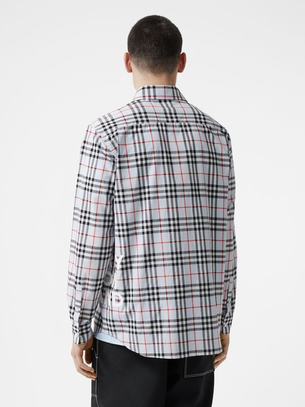 Logo Print Check Cotton Oversized Shirt in Pale Blue - Men | Burberry - cell image 2