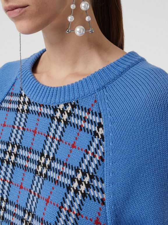 Check Wool Jacquard Sweater in Sky Blue - Women | Burberry United Kingdom - cell image 1