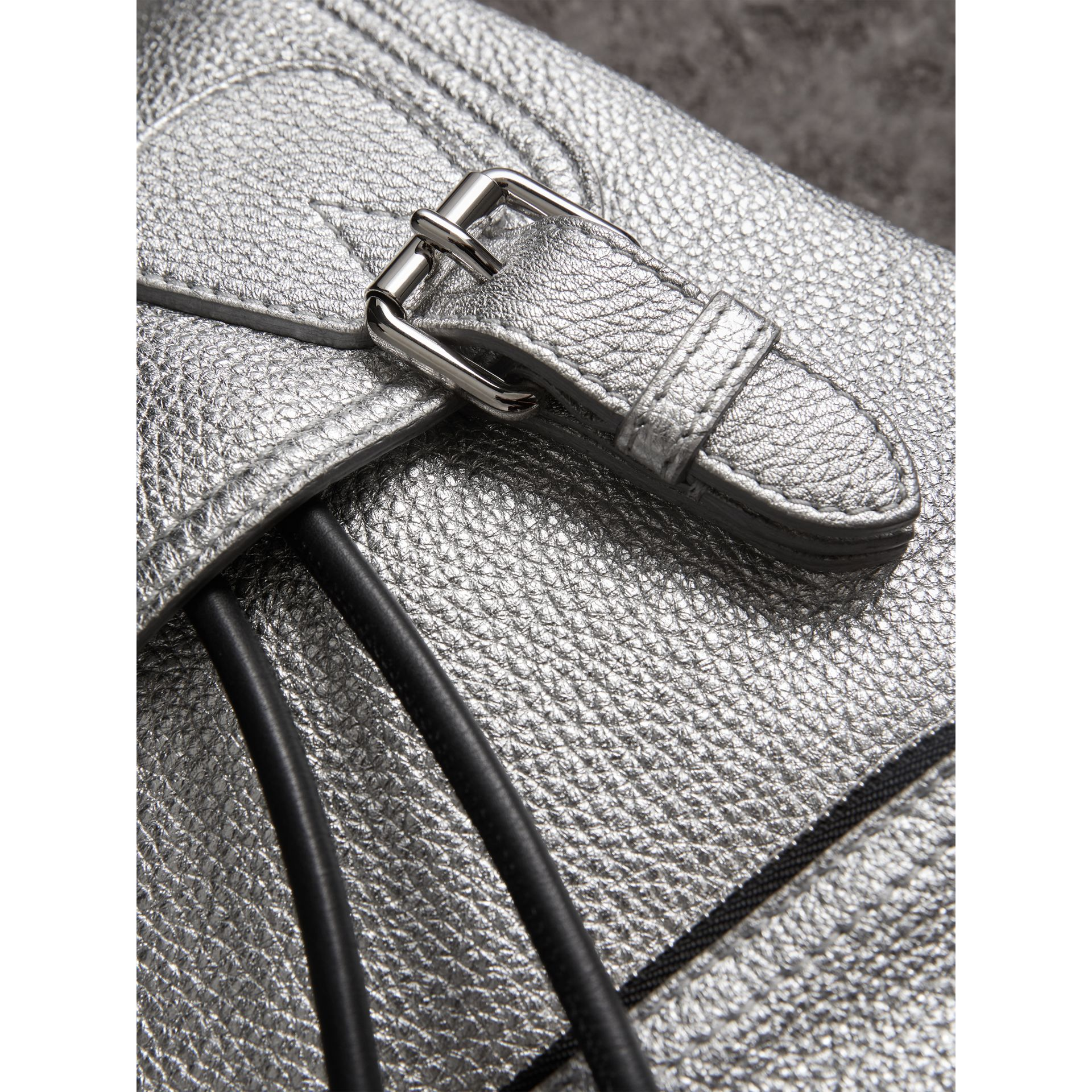 The Medium Rucksack in Metallic Deerskin in Silver - Women | Burberry Australia - gallery image 1