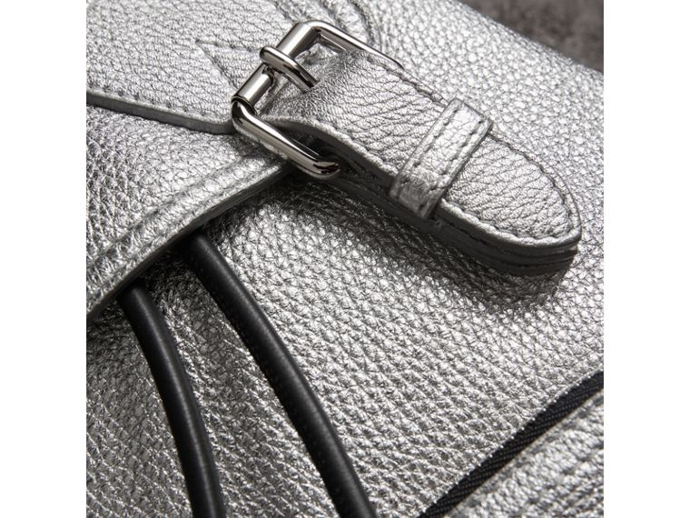 The Medium Rucksack in Metallic Deerskin in Silver - Women | Burberry Australia - cell image 1