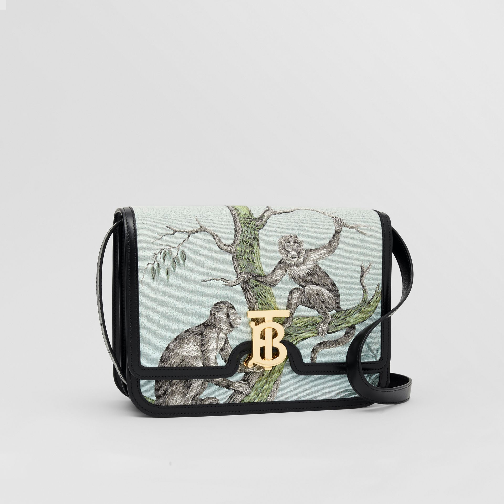 Medium Monkey Jacquard and Leather TB Bag in Black/opal Green - Women | Burberry United States - gallery image 6