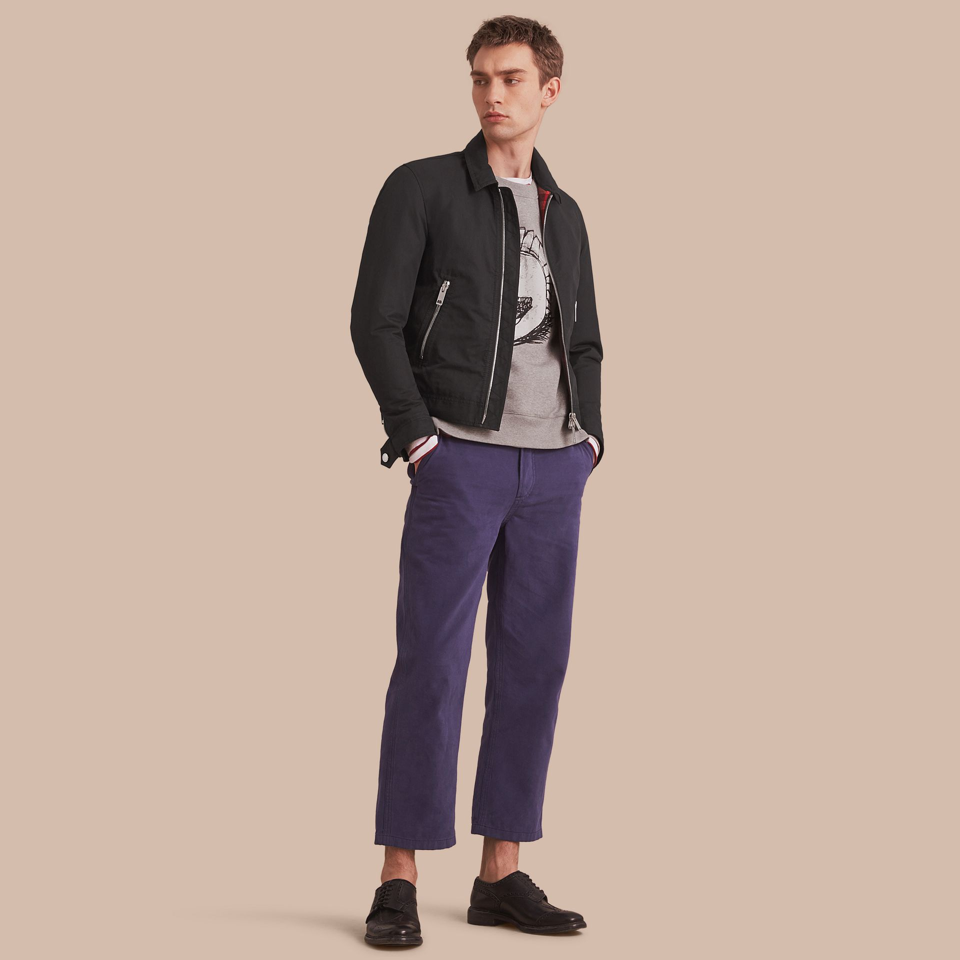 Cotton Blend Cropped Jacket - Men | Burberry - gallery image 1