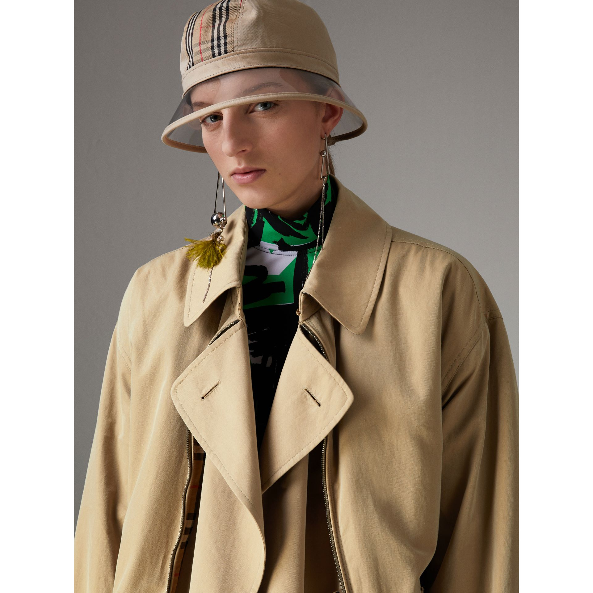 Tropical Gabardine Reconstructed Harrington Jacket in Honey - Women | Burberry United Kingdom - gallery image 4