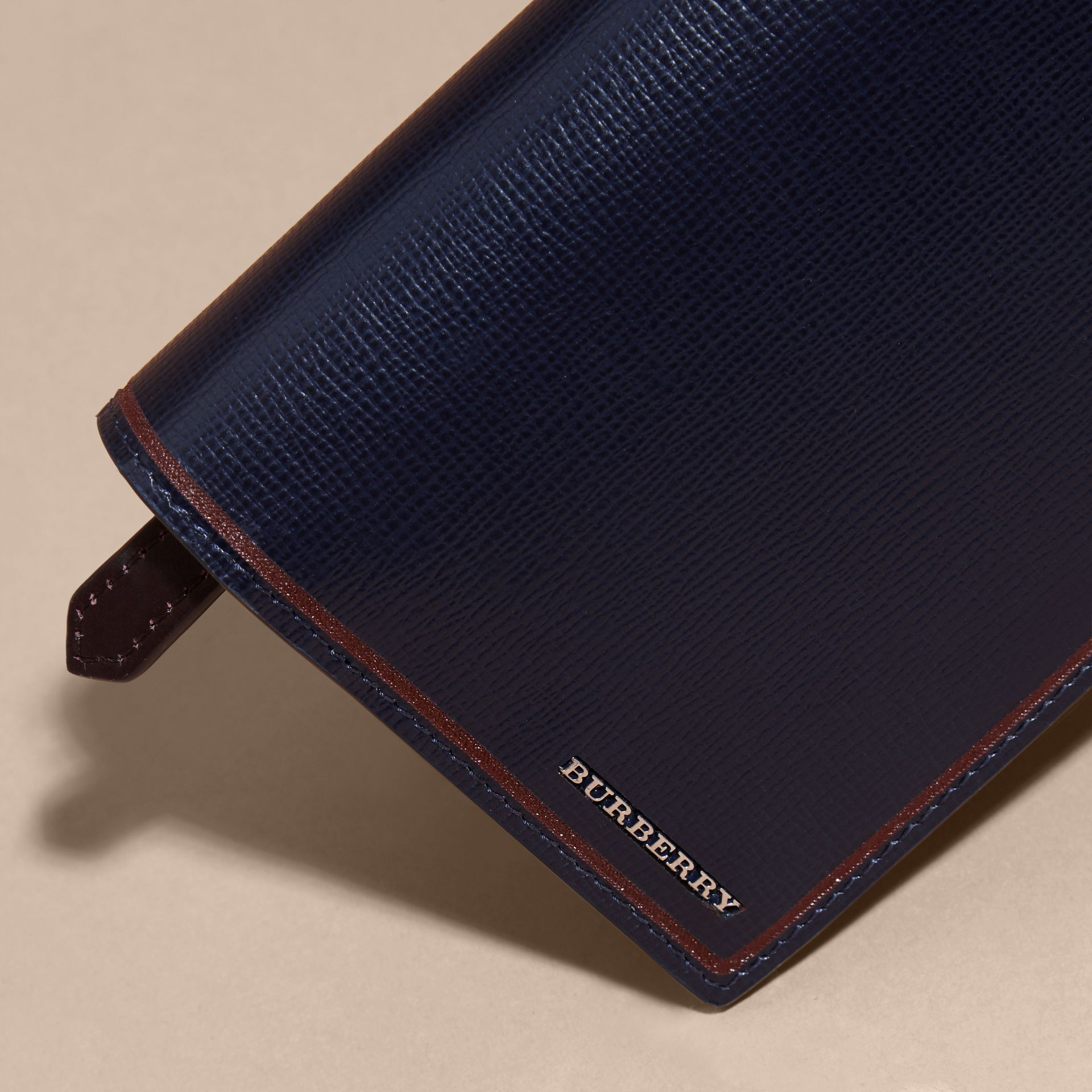 Border Detail London Leather Continental Wallet Dark Navy - gallery image 4