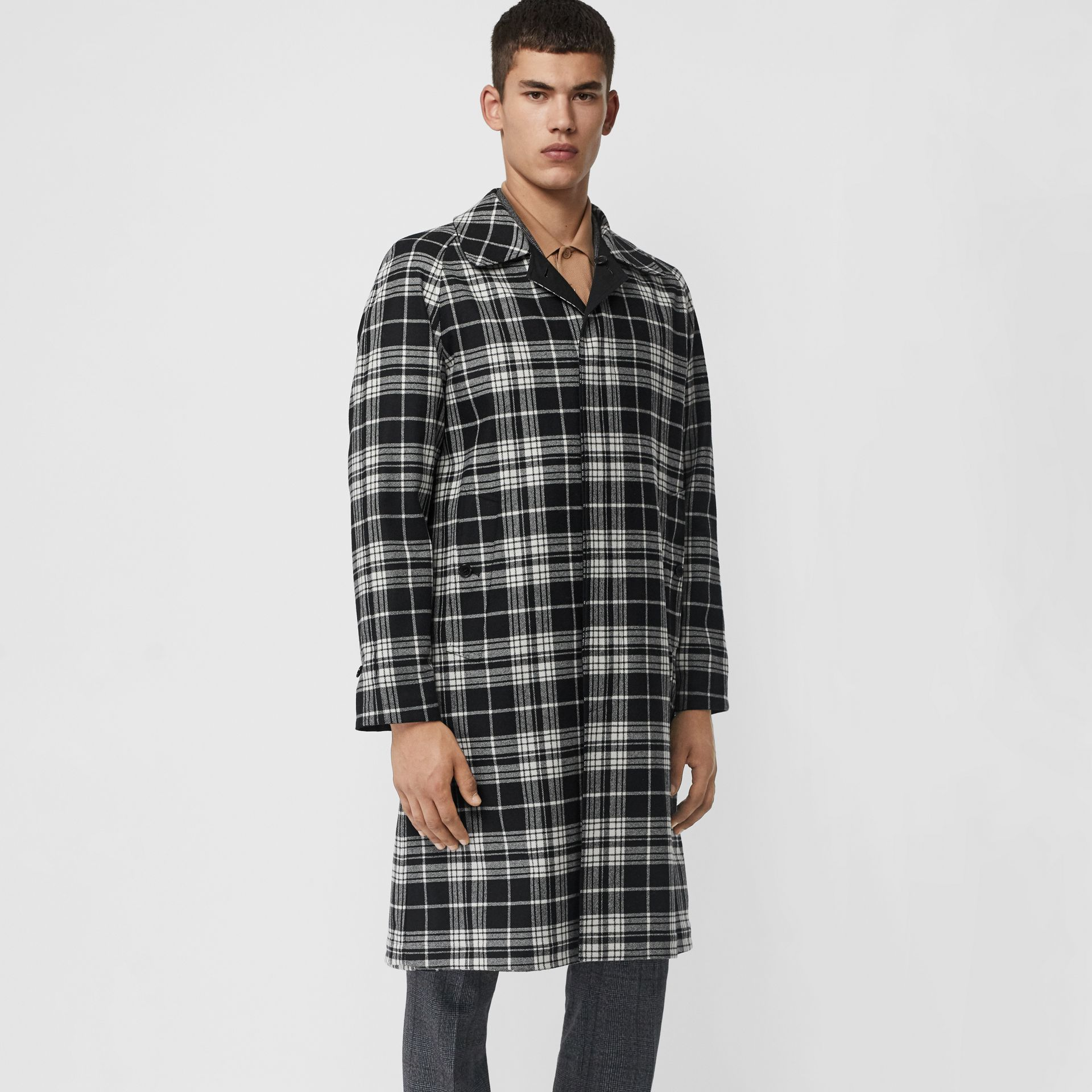 Reversible Wool Cashmere and Cotton Car Coat in Black - Men | Burberry Australia - gallery image 4