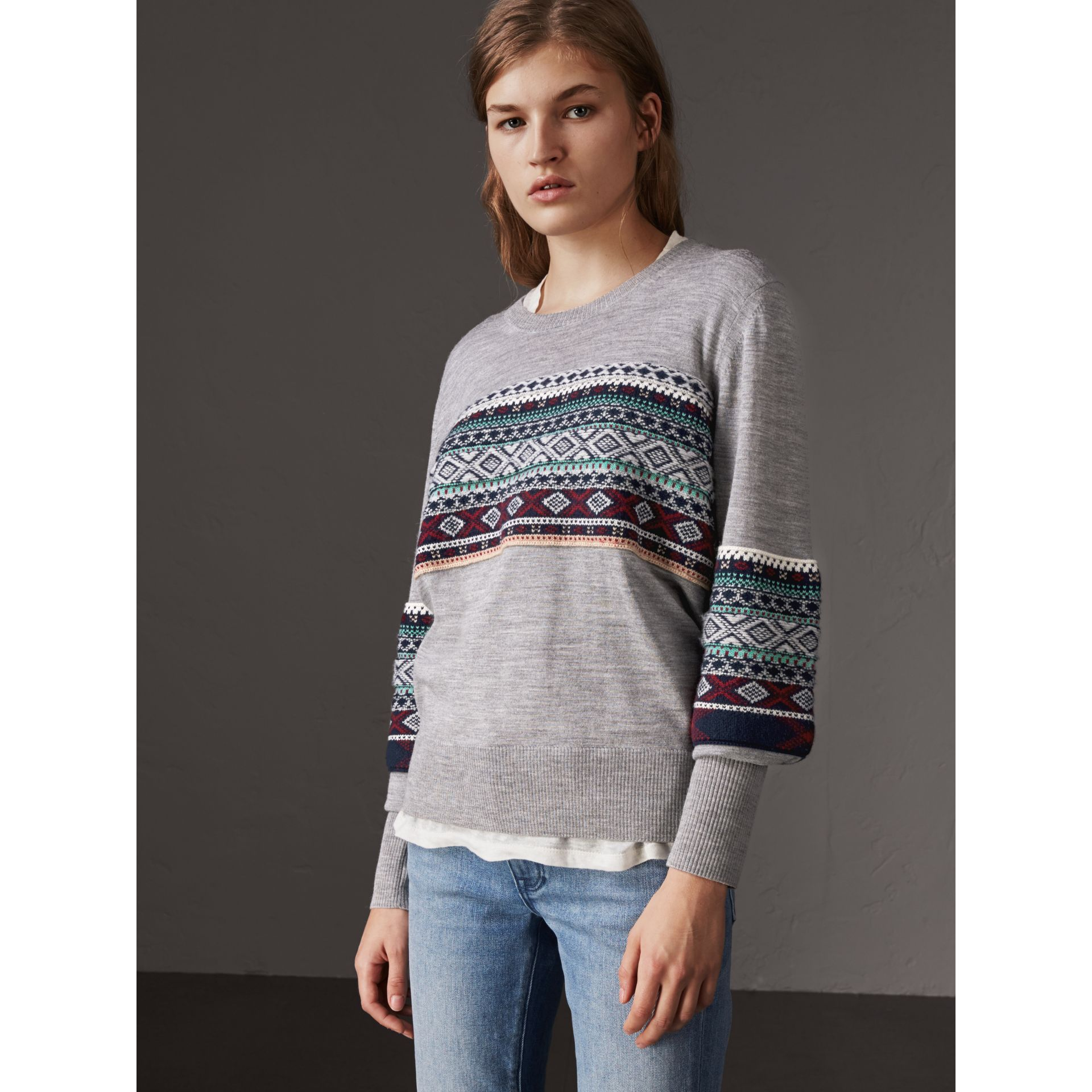 Fair Isle Detail Merino Wool Sweater in Mid Grey Melange - Women | Burberry Singapore - gallery image 4