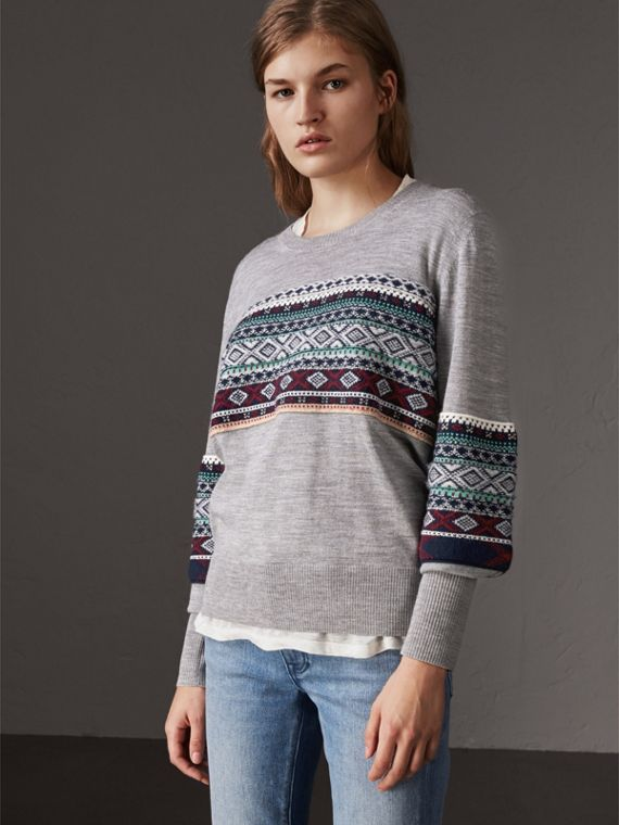 Fair Isle Detail Merino Wool Sweater in Mid Grey Melange