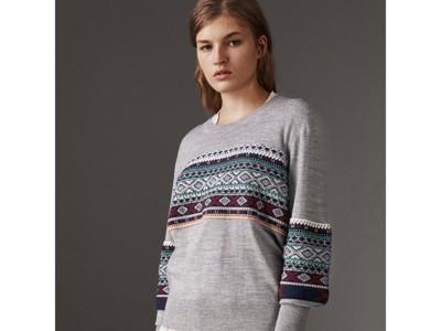 Fair Isle Detail Merino Wool Sweater in Mid Grey Melange - Women ...