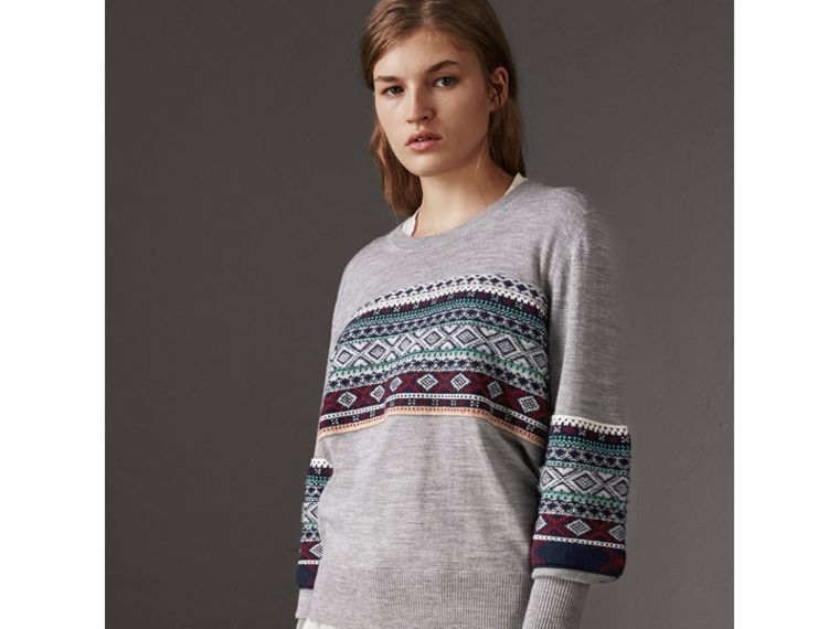 Fair Isle Detail Merino Wool Sweater in Mid Grey Melange - Women | Burberry United Kingdom - cell image 4