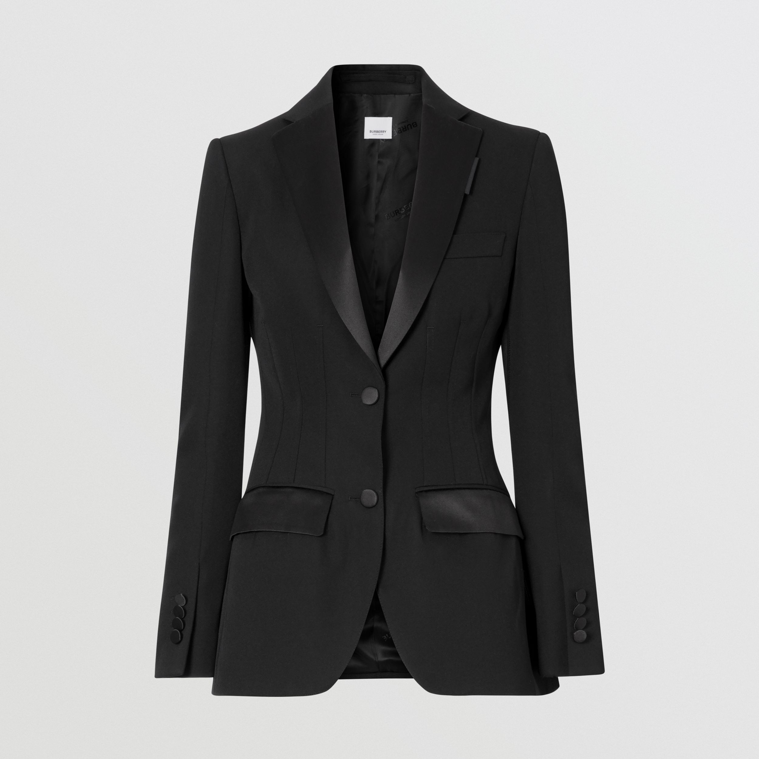 Silk Trim Wool Tailored Jacket in Black - Women | Burberry Canada - 4