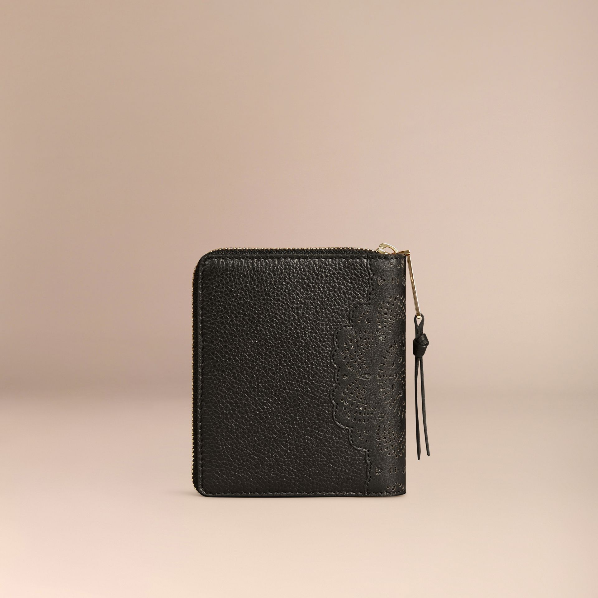 Black Ziparound Laser-cut Lace Detail Leather Mini Notebook - gallery image 4