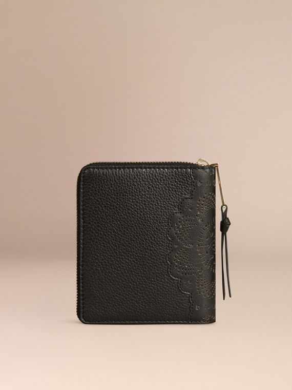 Black Ziparound Laser-cut Lace Detail Leather Mini Notebook - cell image 3
