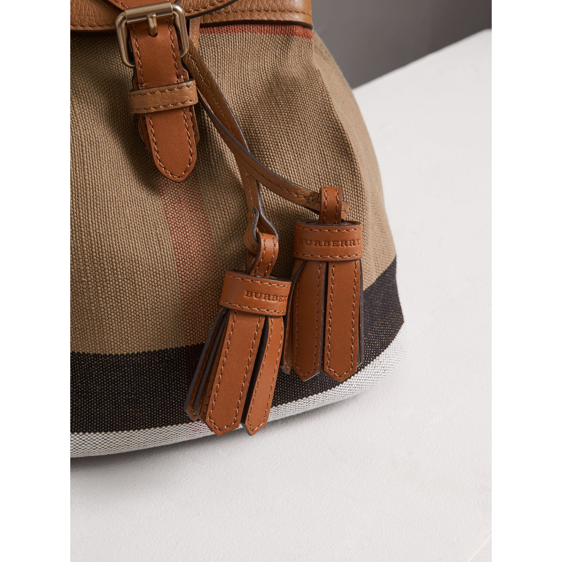 Canvas Check Backpack in Sand | Burberry - gallery image 1