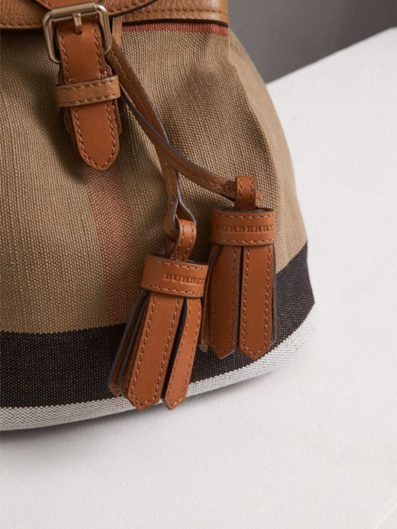 Canvas Check Backpack in Sand - Girl | Burberry - cell image 1