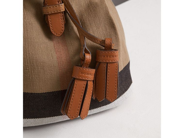 Canvas Check Backpack in Sand | Burberry - cell image 1