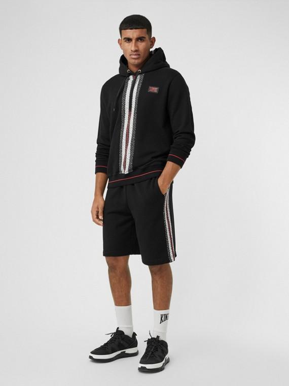 Shorts aus Baumwolle mit Monogrammmuster im Streifendesign (Schwarz)