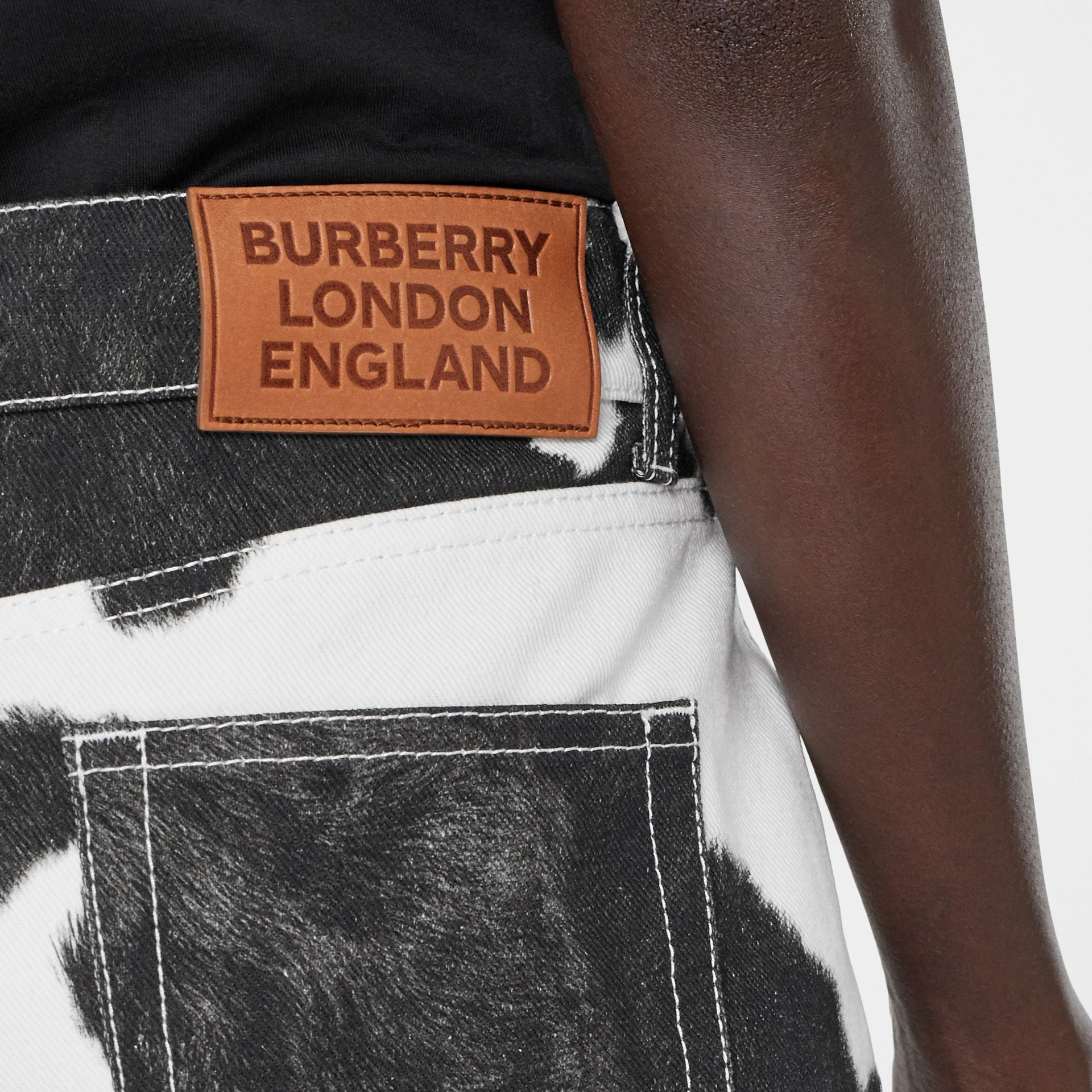 Straight Fit Cow Print Jeans in Black - Women | Burberry Canada - gallery image 1