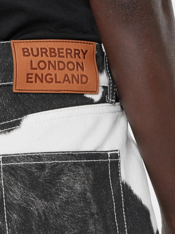 Straight Fit Cow Print Jeans in Black - Women | Burberry Canada - cell image 1