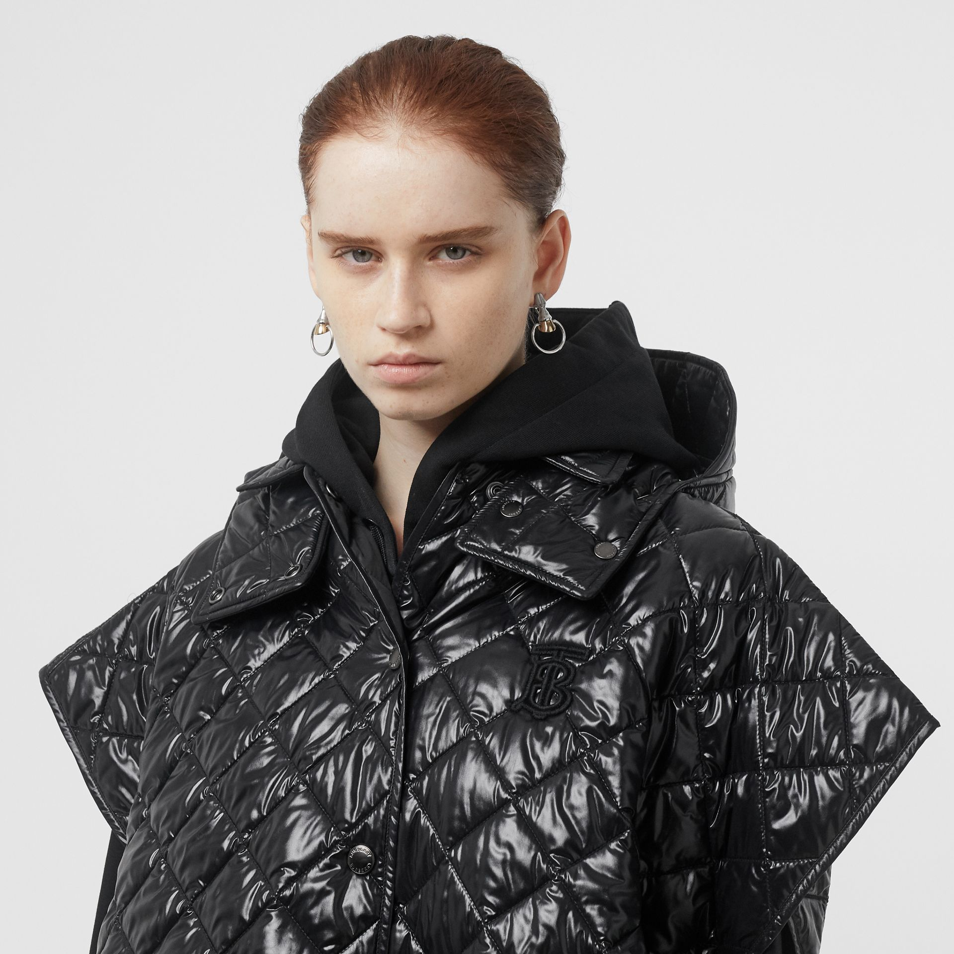 Detachable Hood Diamond Quilted Cape in Black - Women | Burberry - gallery image 4