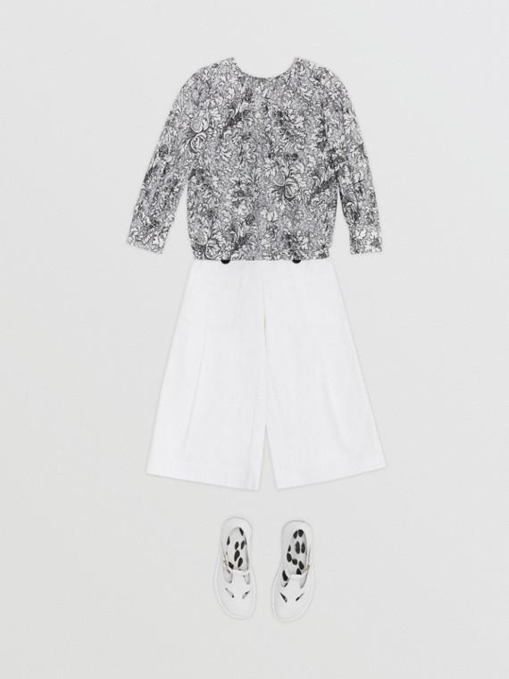 花朵印花絲綿女裝襯衫 (灰色)