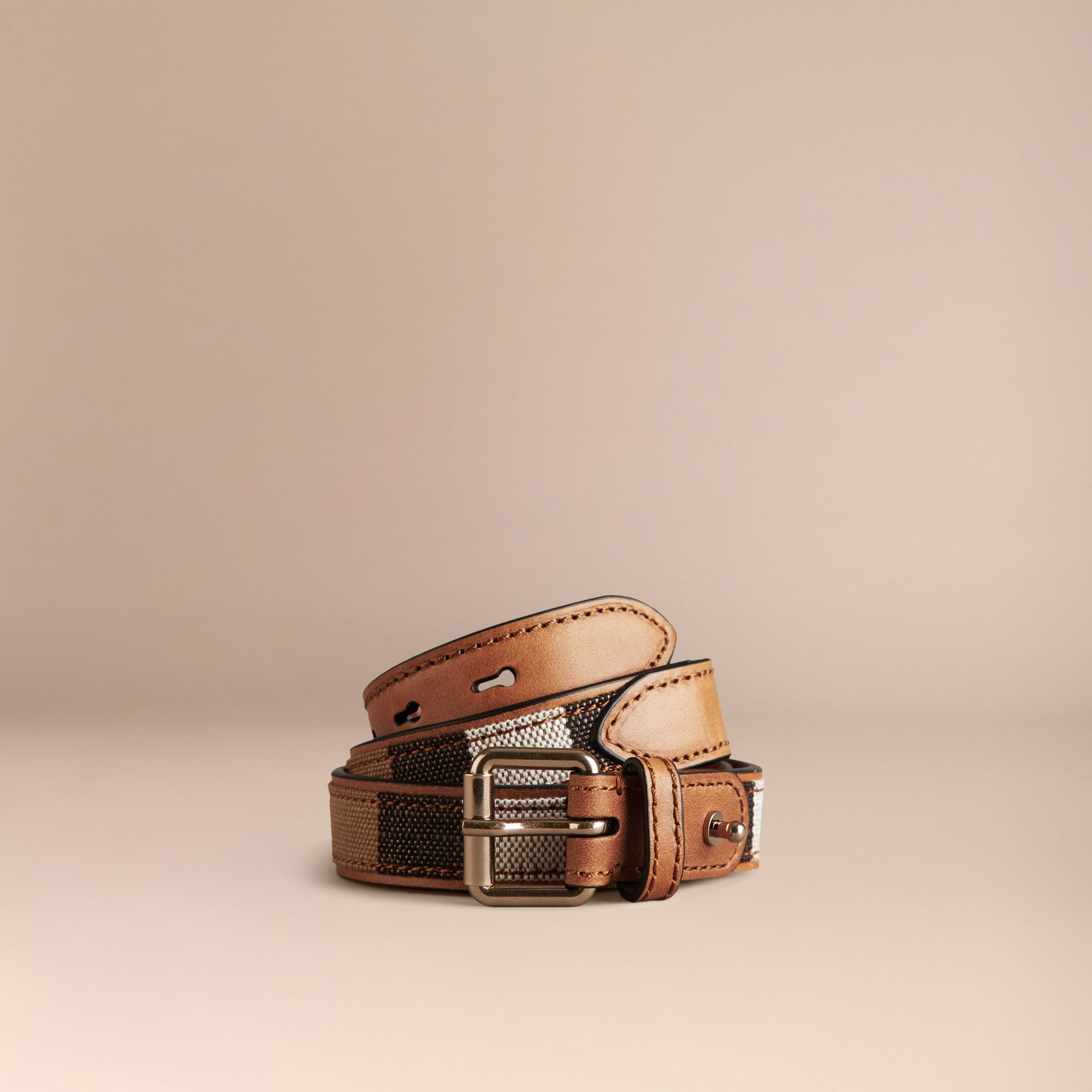 Tan Canvas Check and Leather Belt - gallery image 1