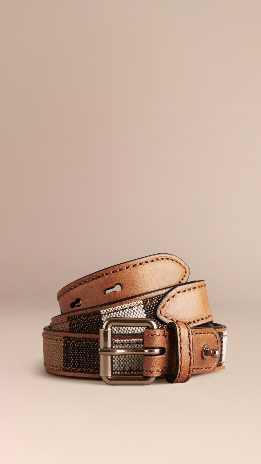Tan Canvas Check and Leather Belt - Image 1