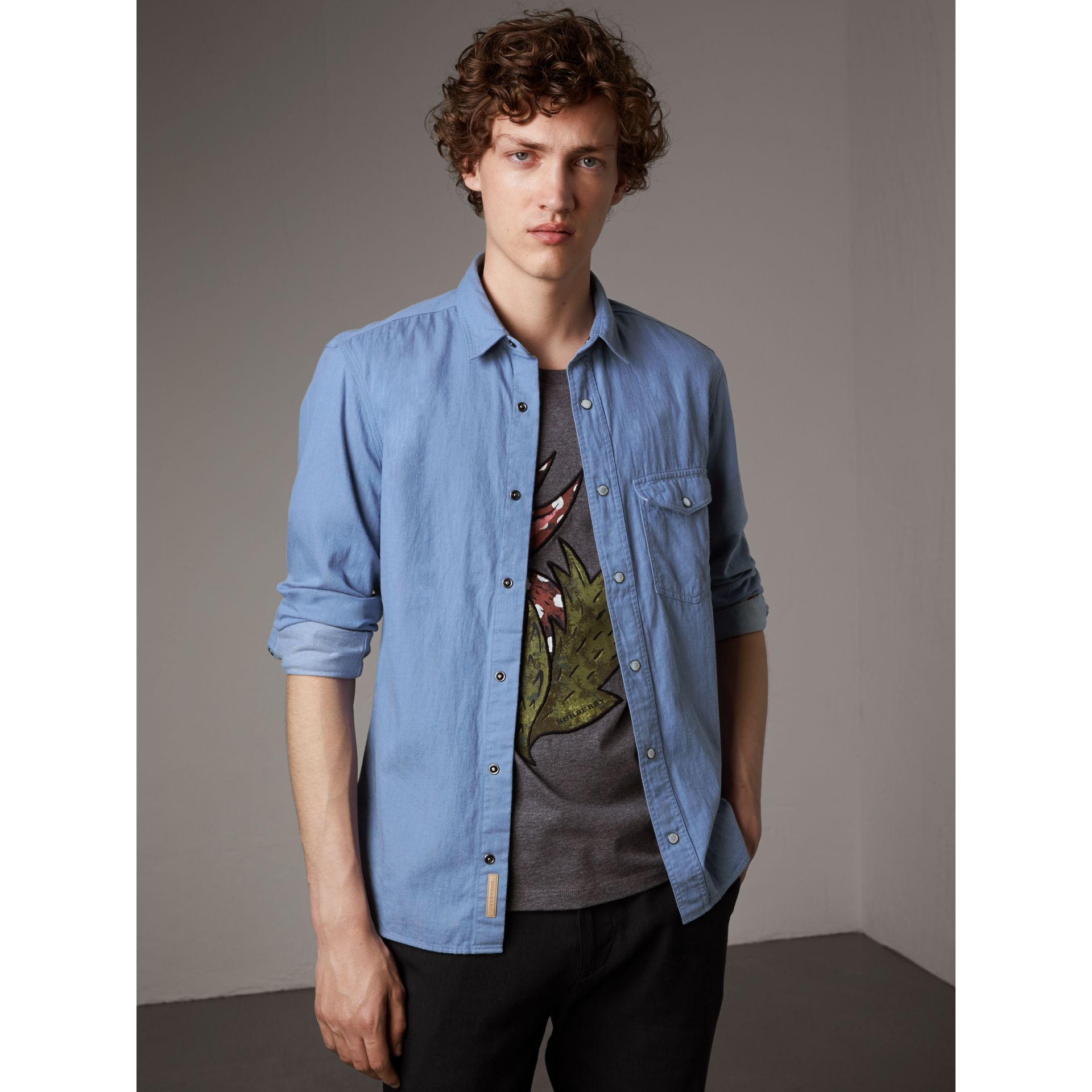 Japanese Denim Shirt in Light Blue - Men | Burberry - gallery image 5