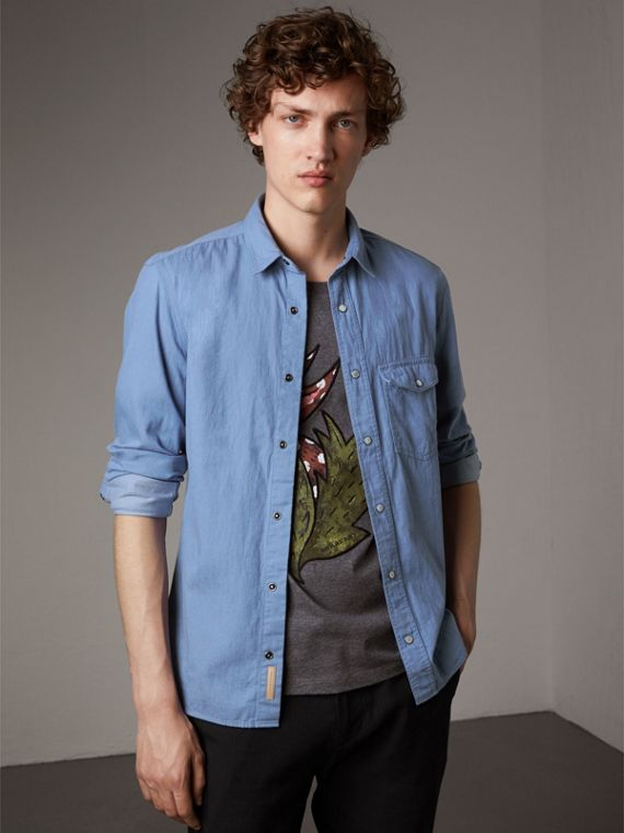 Camicia in denim giapponese - Uomo | Burberry