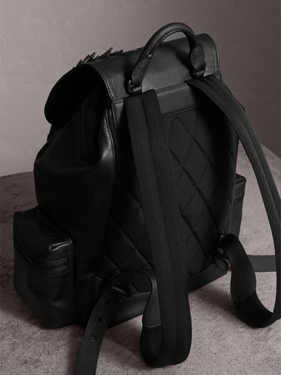 The Large Rucksack in Leather with Beasts Motif in Black - Men | Burberry - cell image 3