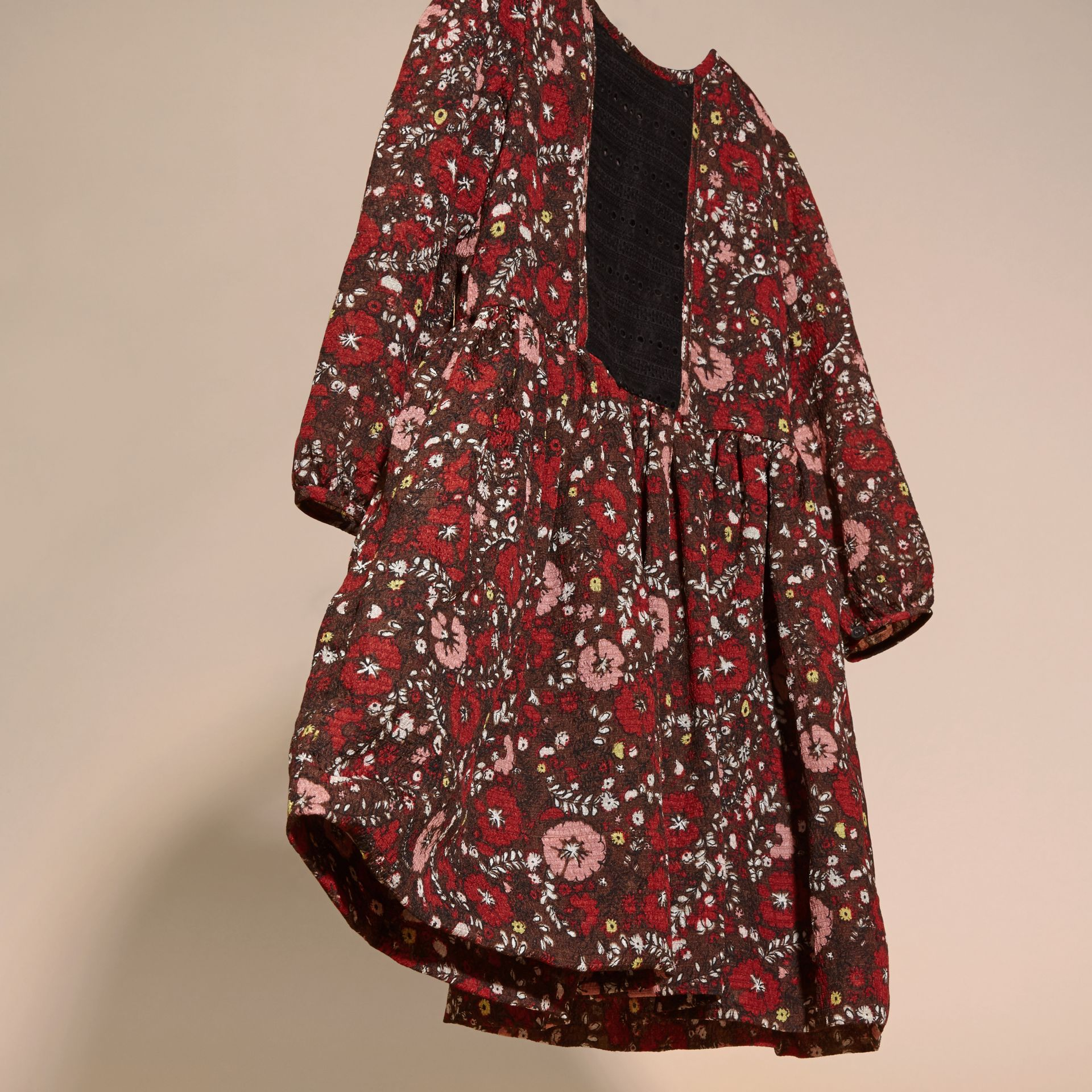 Carmine red Floral Print Silk Dress - gallery image 3