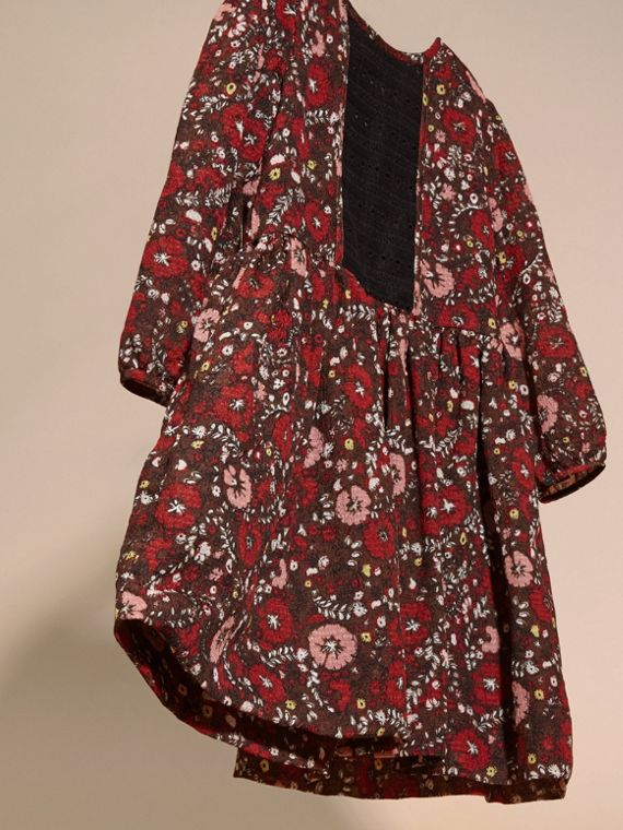 Carmine red Floral Print Silk Dress - cell image 2