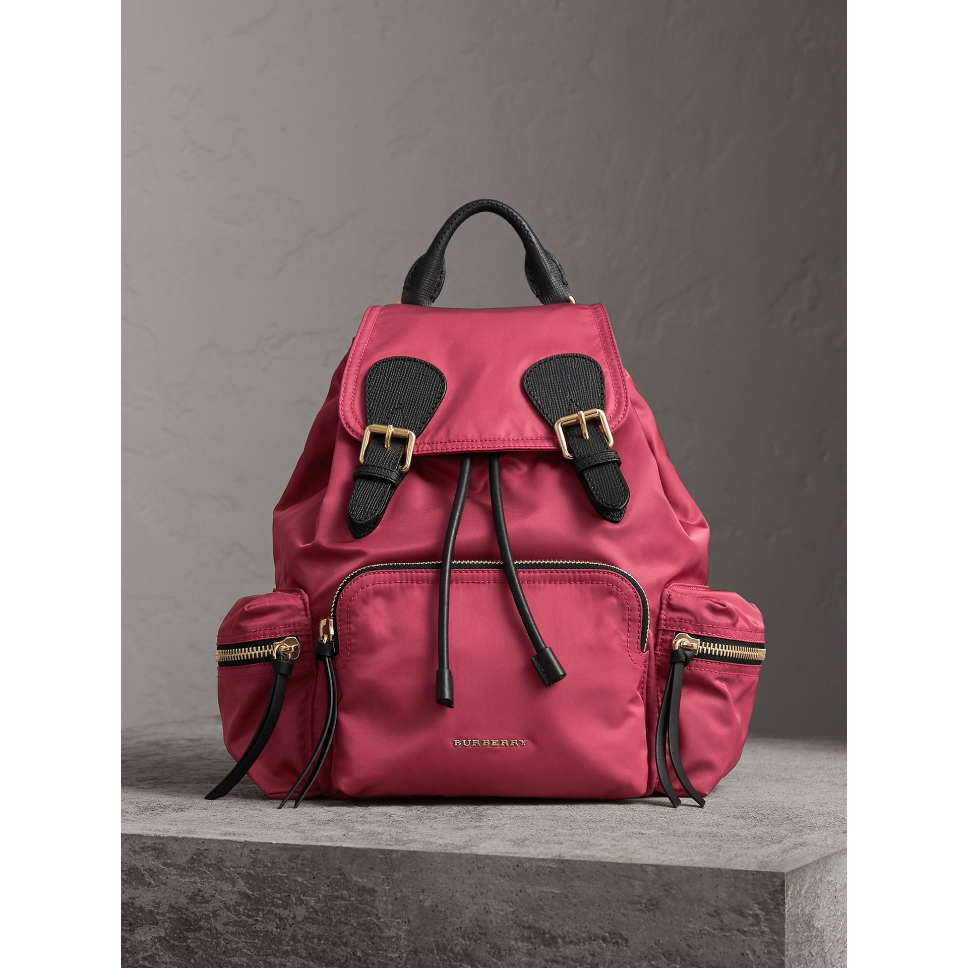 The Medium Rucksack in Technical Nylon and Leather in Plum Pink - Women | Burberry United Kingdom - gallery image 6