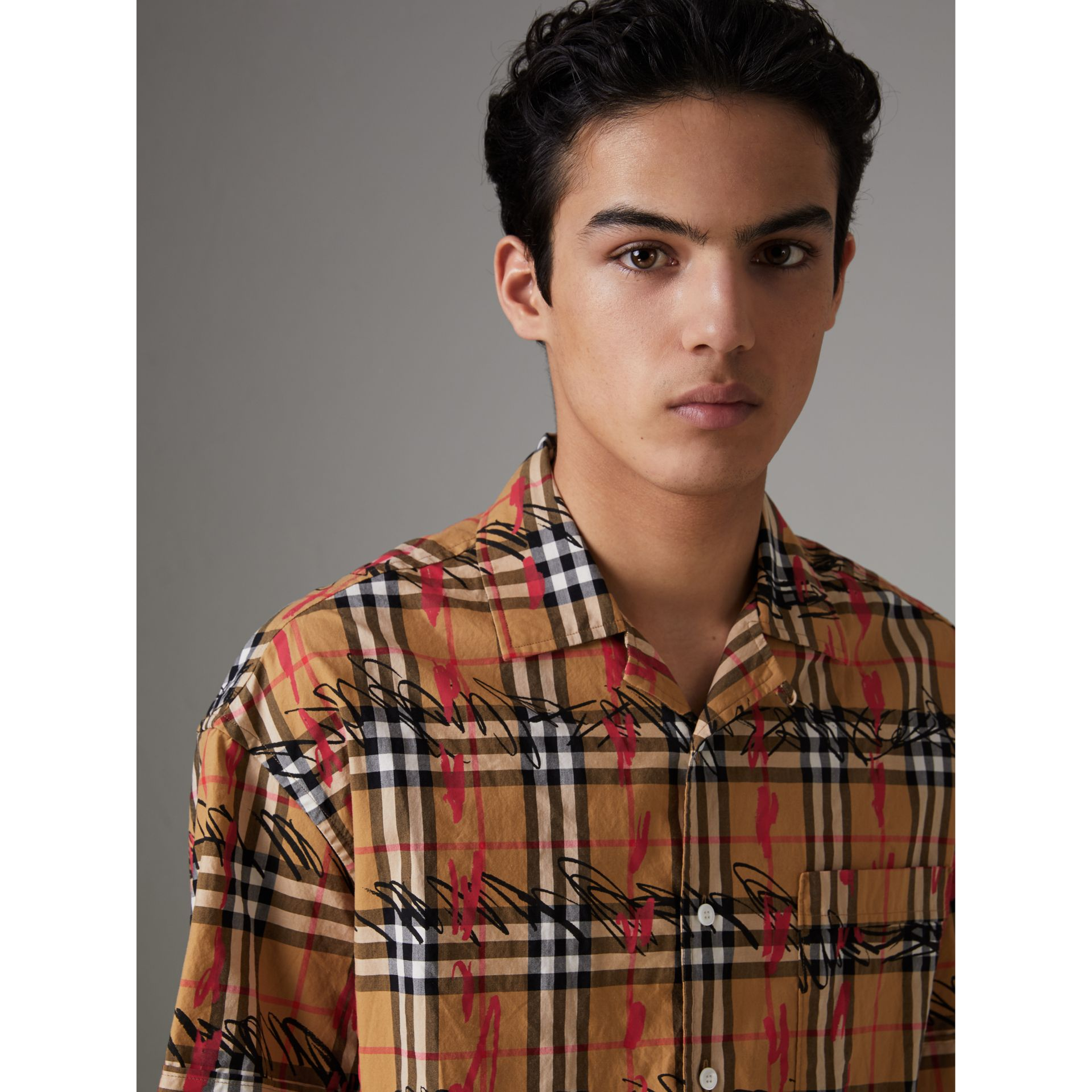 Short-sleeve Scribble Check Cotton Shirt in Antique Yellow - Men | Burberry United Kingdom - gallery image 1